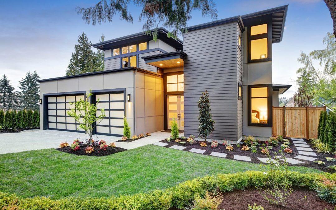 modern house front yard